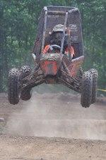 Action-shot of OSU's Mini Baja buggy