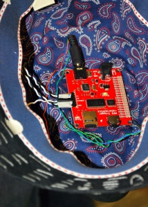 View of the inside of the FAF; you can see the mp3-controller board, and some wires.